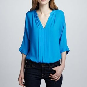Noir Marru Silk Pleated Front Blouse XS V Neck